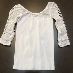 Bebe White and Mesh Top w/Cutouts on Sleves